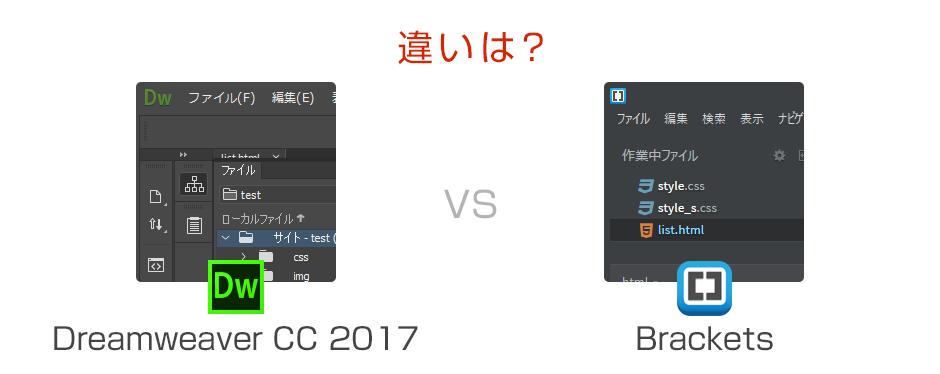 Dreamweaver CC 2017とBrackets